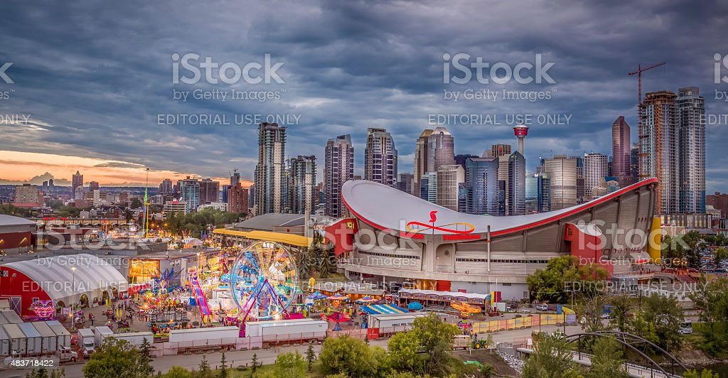 calgary stampede and city skyline stock photo
