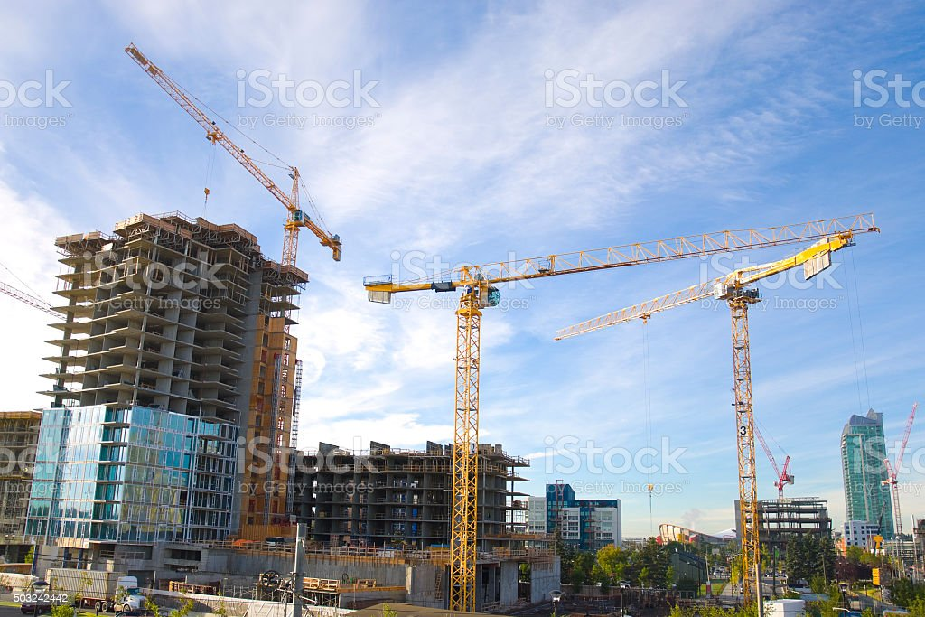 Calgary's booming residential market in progress stock photo
