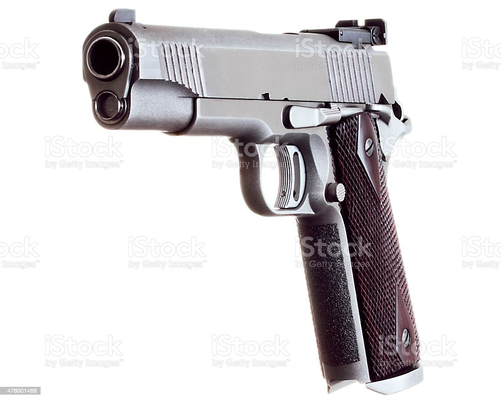 Caliber 45 Custom Competition Match Grade Stainless Steel Automa stock photo