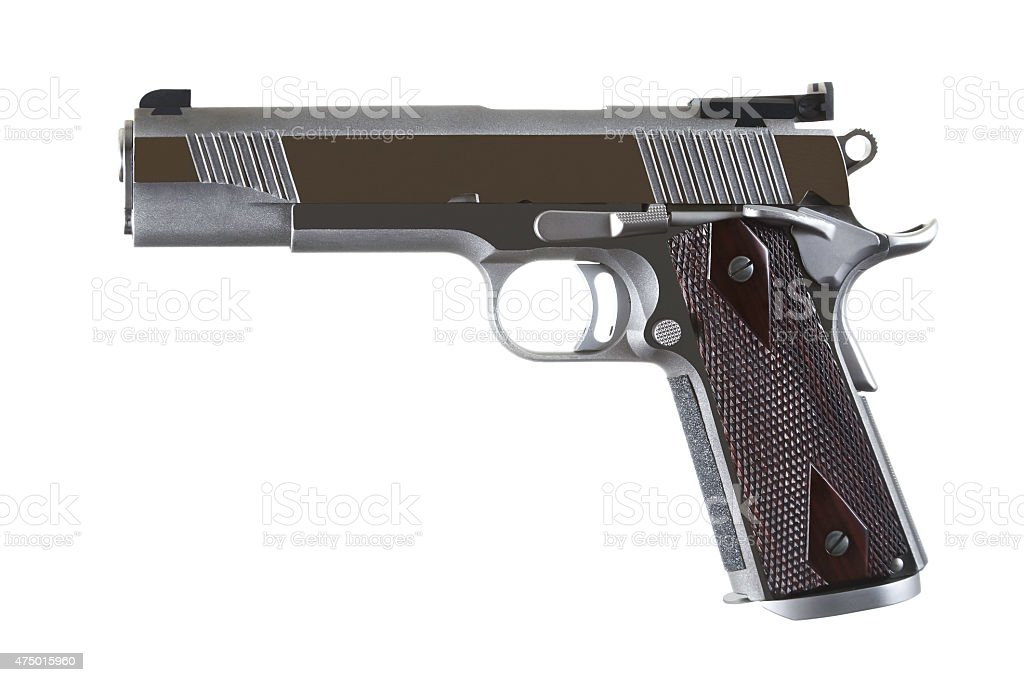 45 Caliber Custom Competition Stainless Steel Automatic Pistol stock photo