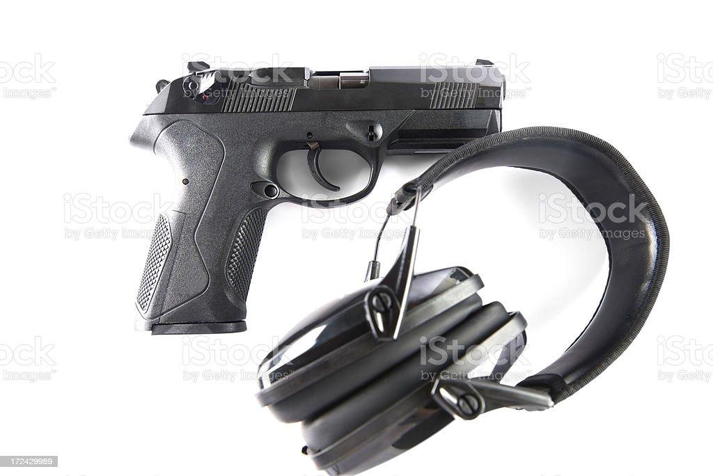 45 Caliber Hand Gun and Ammunition royalty-free stock photo