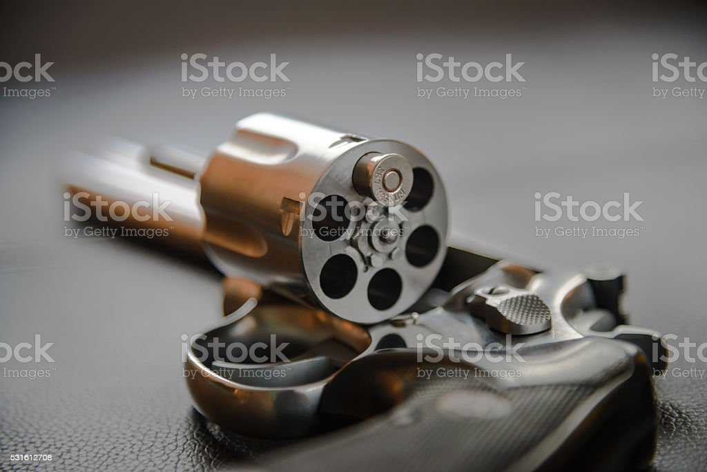 .357 Caliber Revolver Pistol, Revolver open ready to put bullets stock photo
