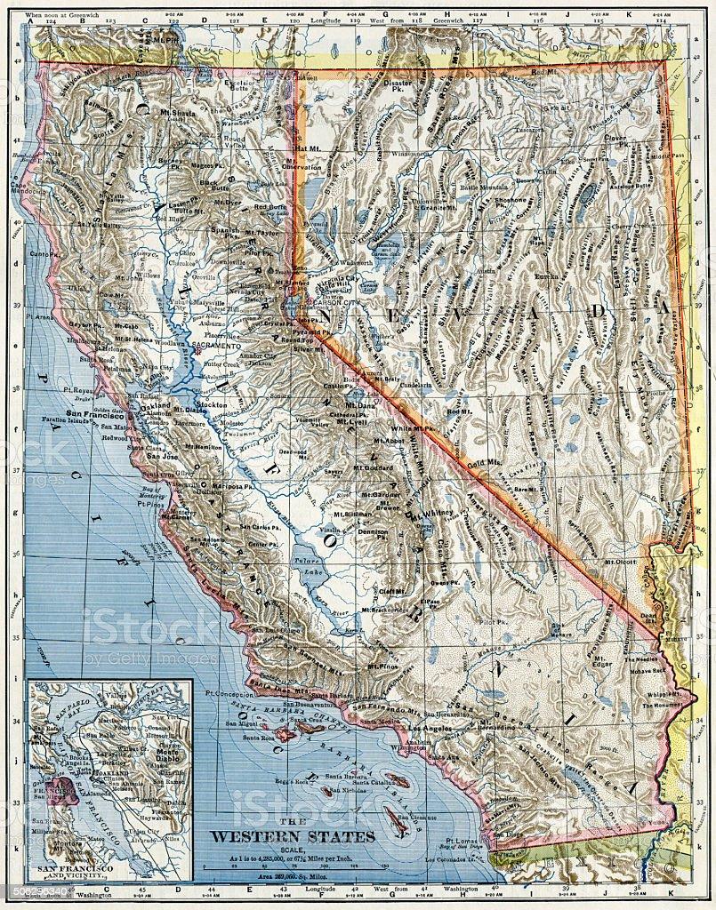 California And Nevada Map 1883 stock photo
