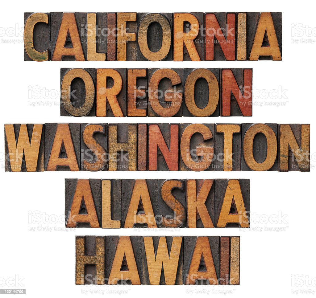 California and Pacific states royalty-free stock photo