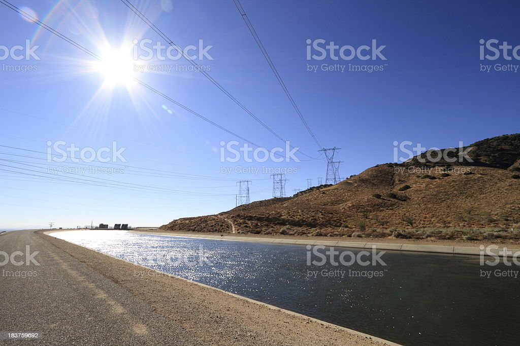 California Aqueduct and Powerlines stock photo