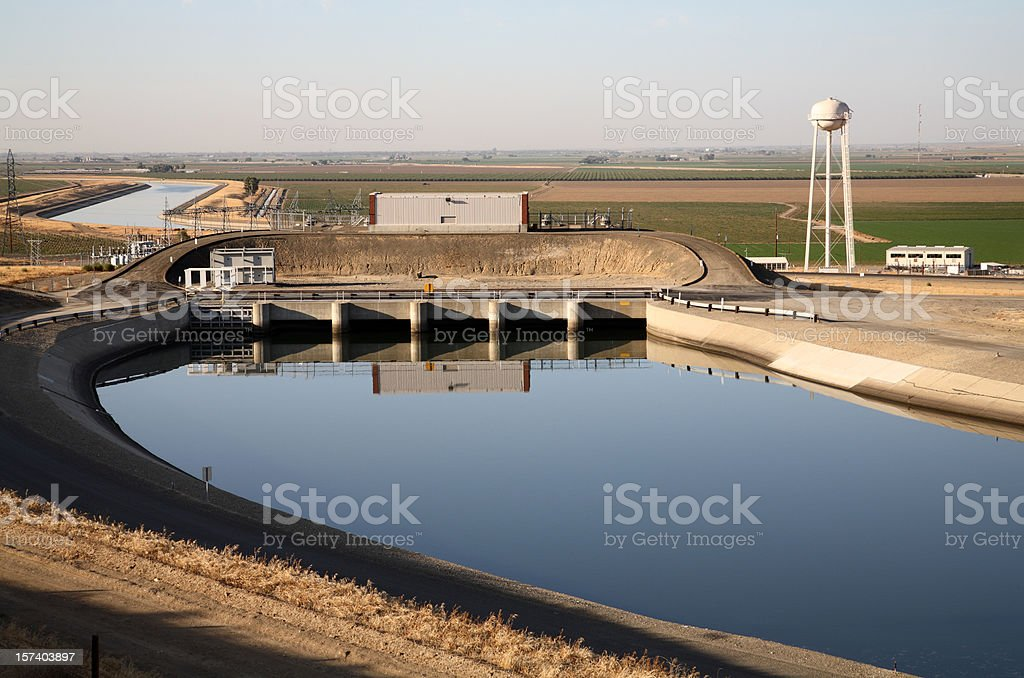 California aqueduct and water tower stock photo