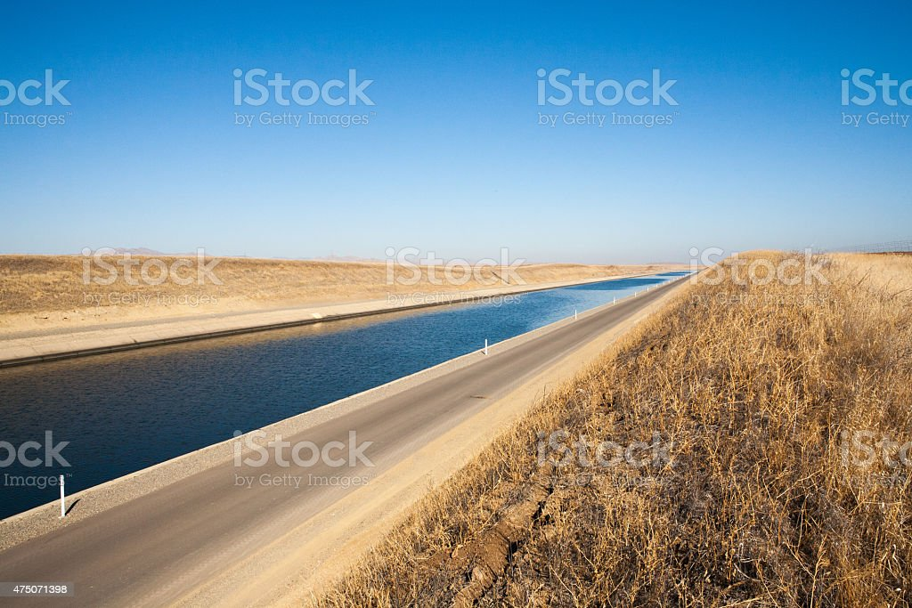 California Aqueduct, Stanislaus County, Drought & Dry Season Conditions royalty-free stock photo