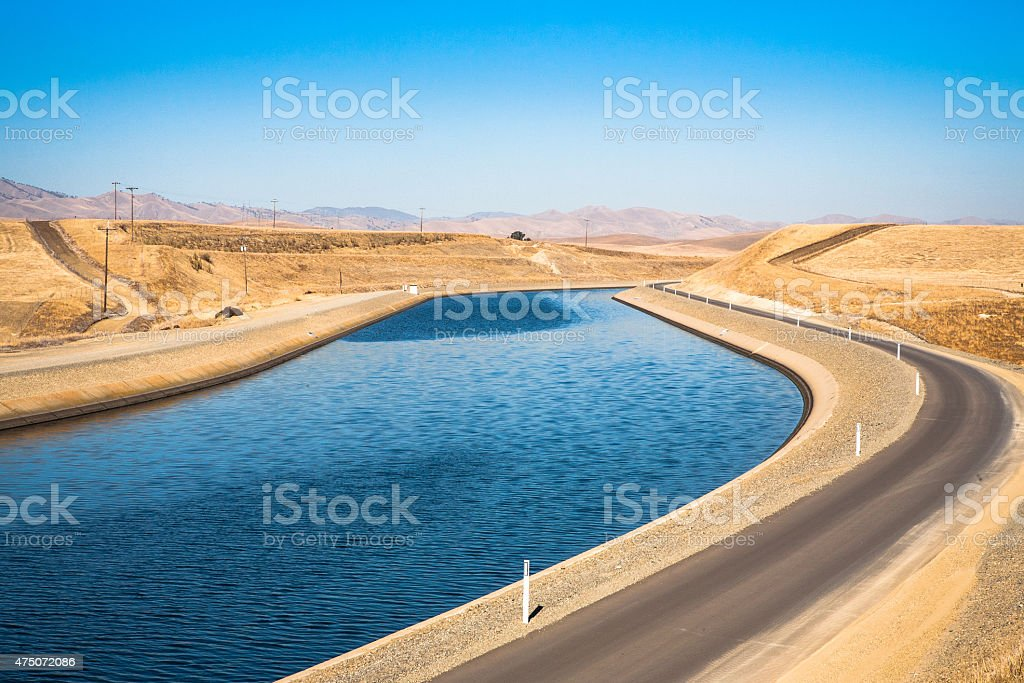 California Aqueduct, Stanislaus County, Drought & Dry Season Conditions stock photo