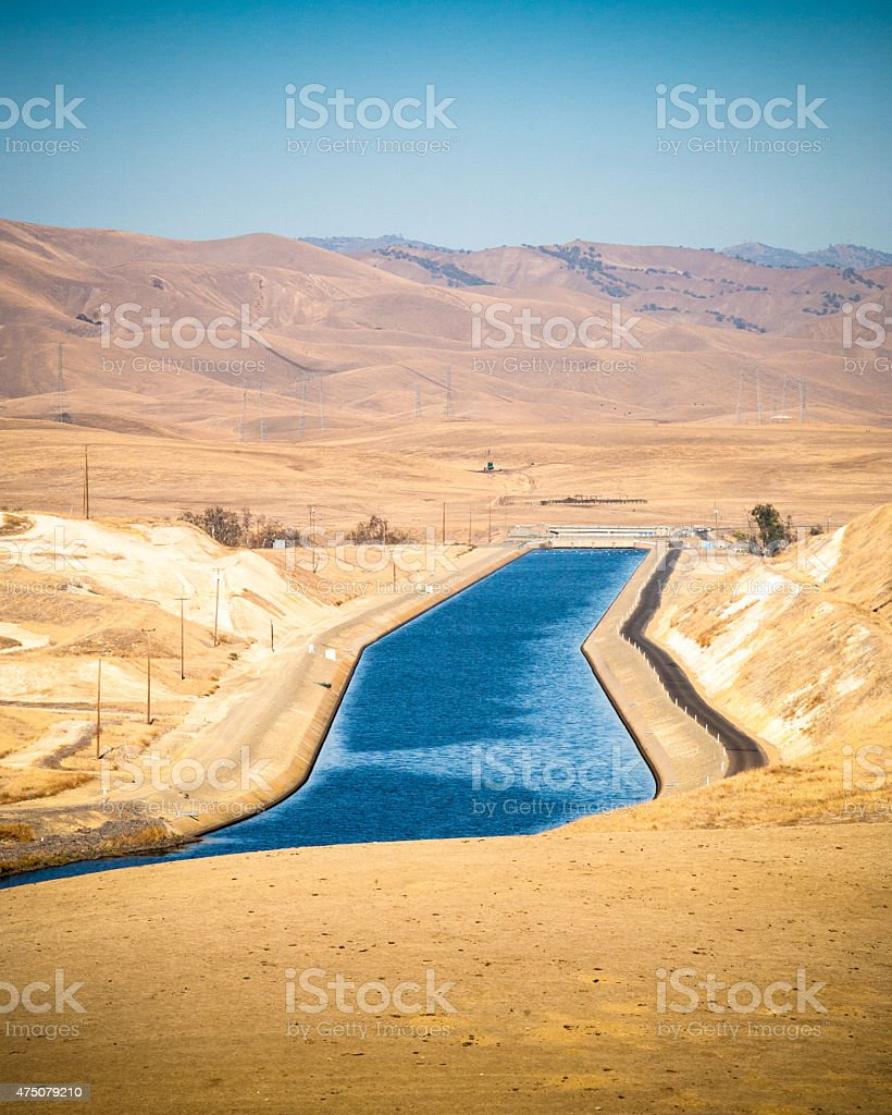 California Aqueduct Vista Point, Stanislaus County, Drought Conditions royalty-free stock photo