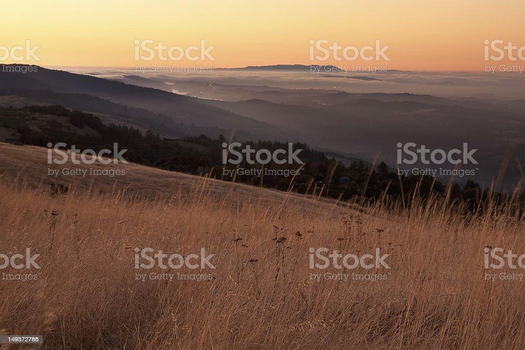 California Bay Area Fog at Sunset royalty-free stock photo