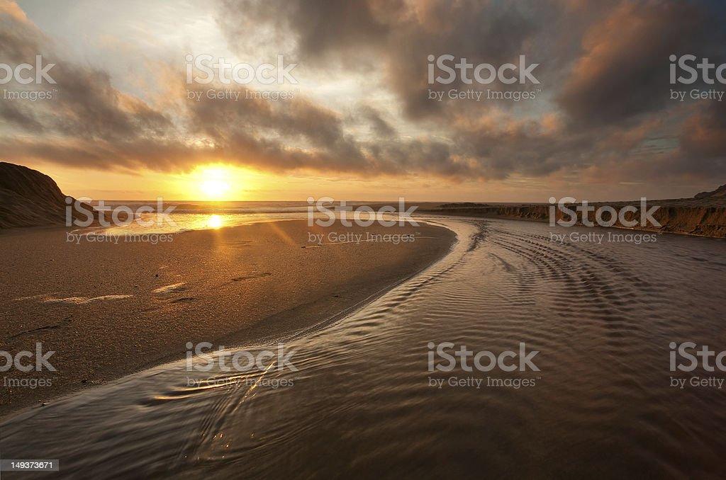 California Beach at Sunset stock photo