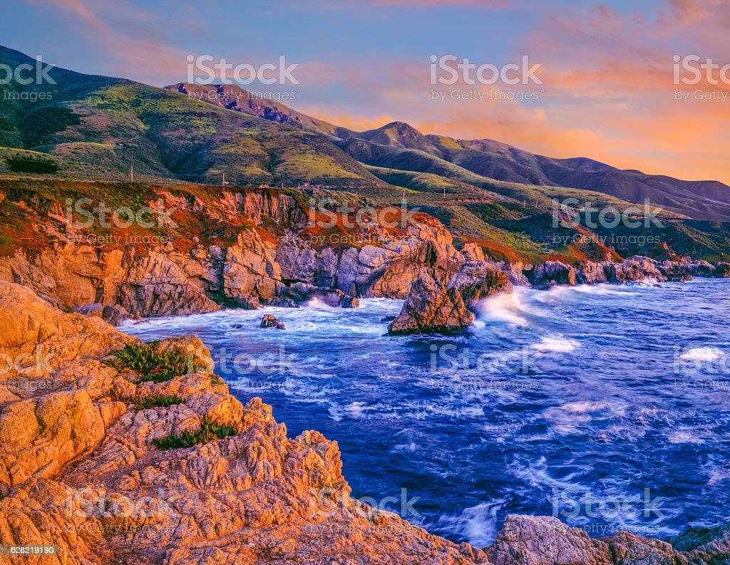 California Big Sur Coastal shoreline with rocky cliffs stock photo