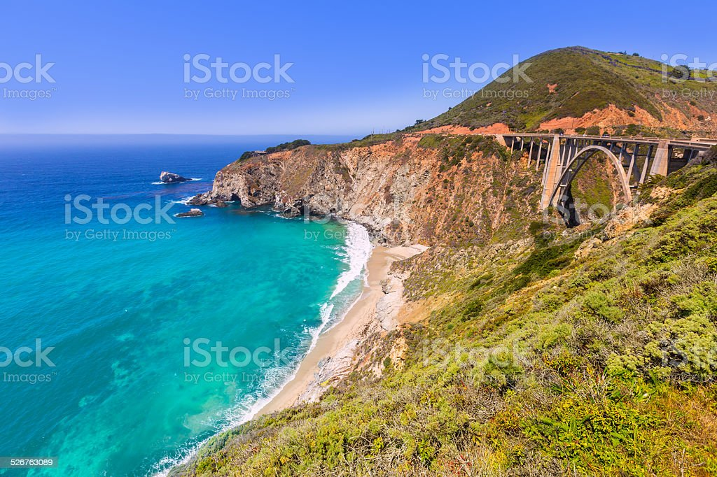 California Bixby bridge in Big Sur Monterey County stock photo