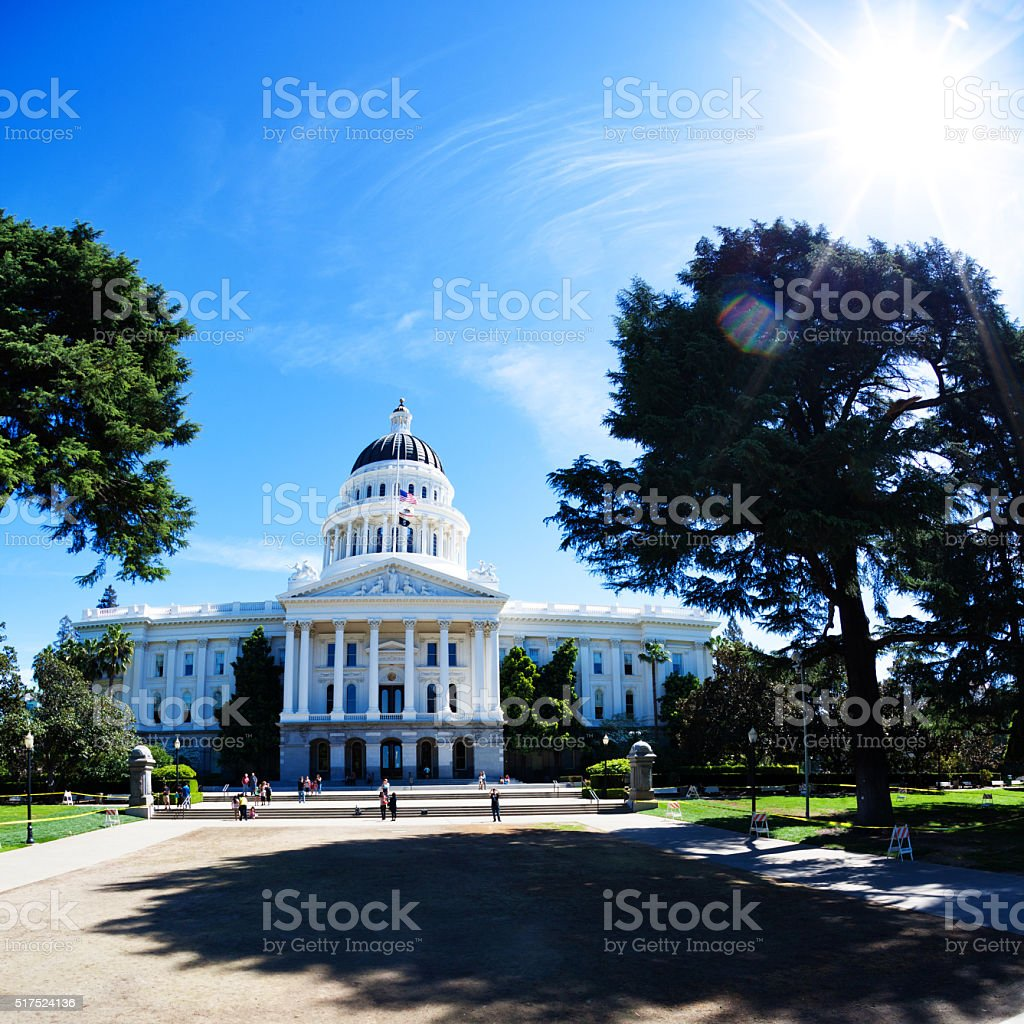 California Capitol Building Direct Sun stock photo