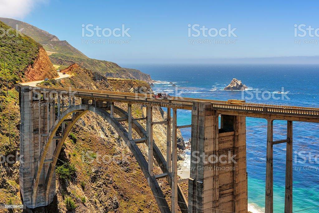 California cast, Bixby Bridge stock photo