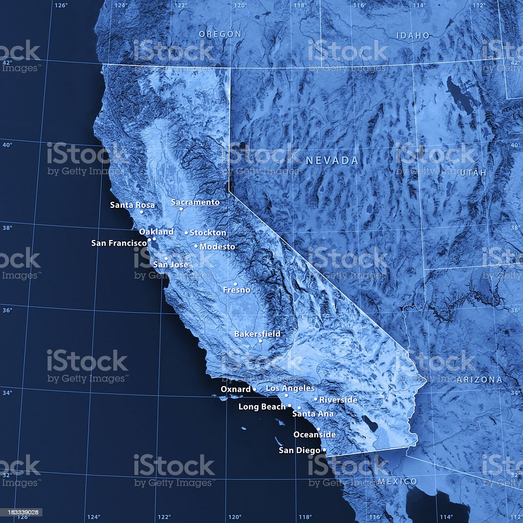 California Cities Topographic Map stock photo