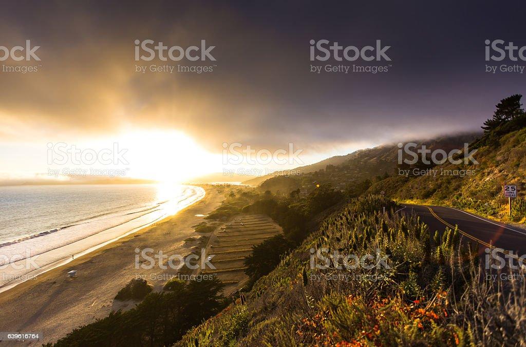 California Coast at Sunset stock photo