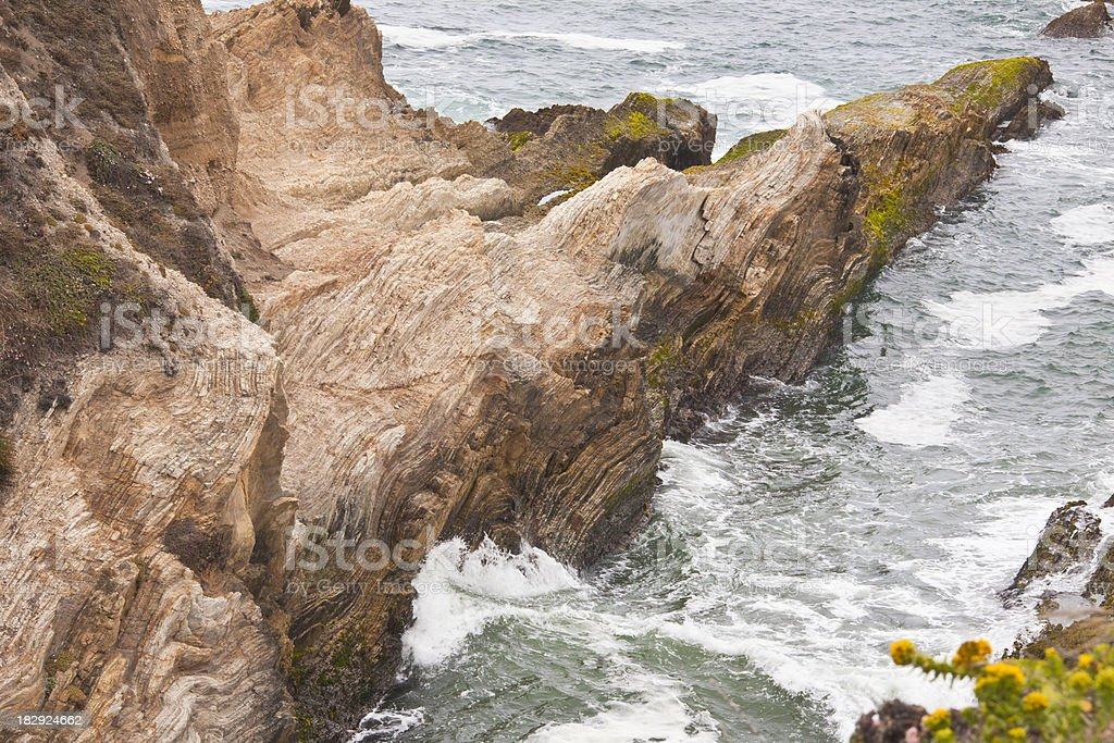 California Coast: Rugged Rocky Inlet with Surf stock photo