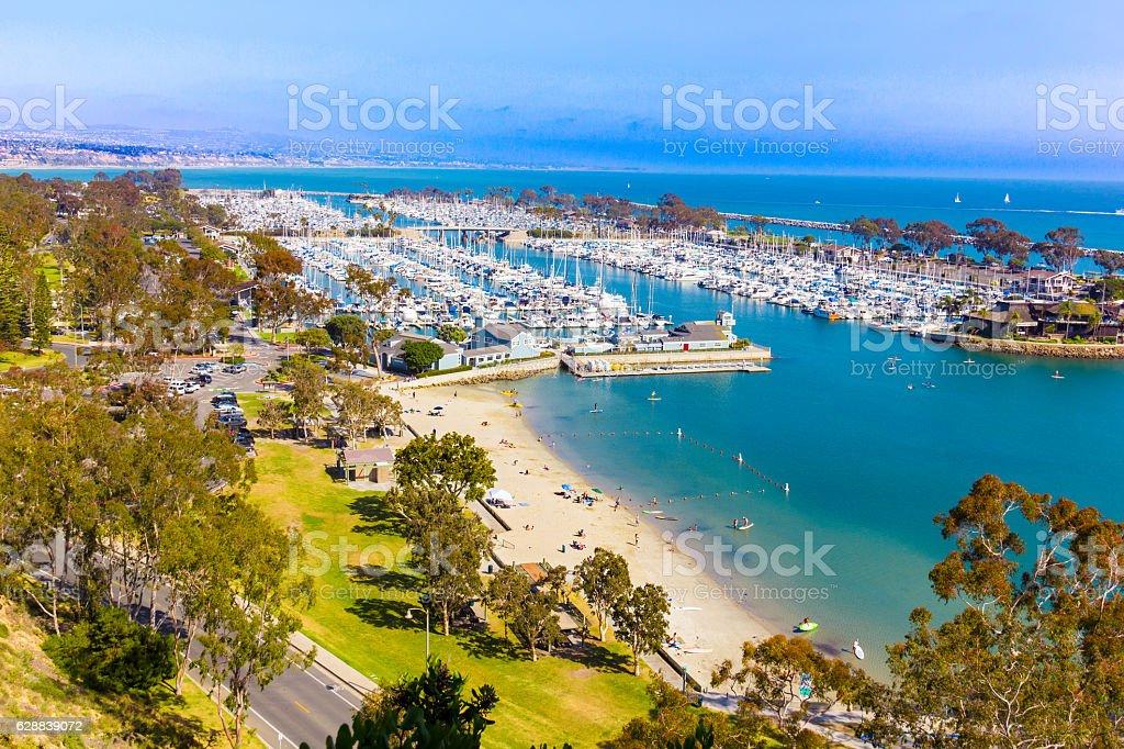 California coast shoreline at Dana Point Harbor, CA (P) stock photo