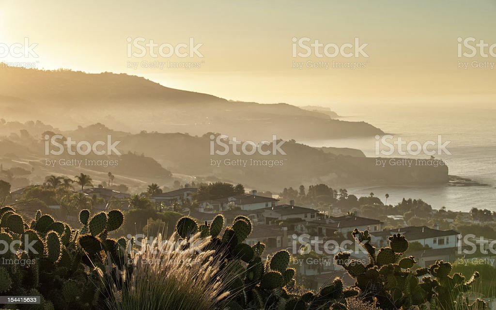 California coast south of Palos Verdes at dawn stock photo