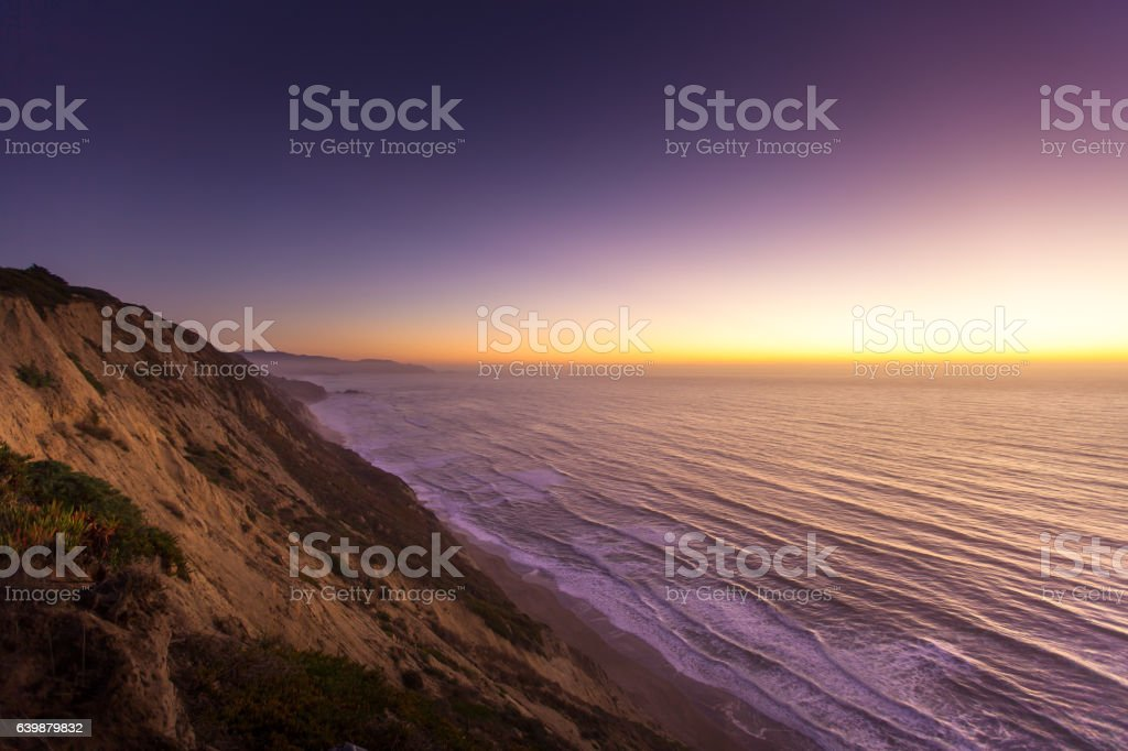 California Coast View at Twilight stock photo