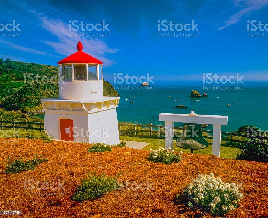 California coast with Trinidad Lighthouse and Harbor stock photo