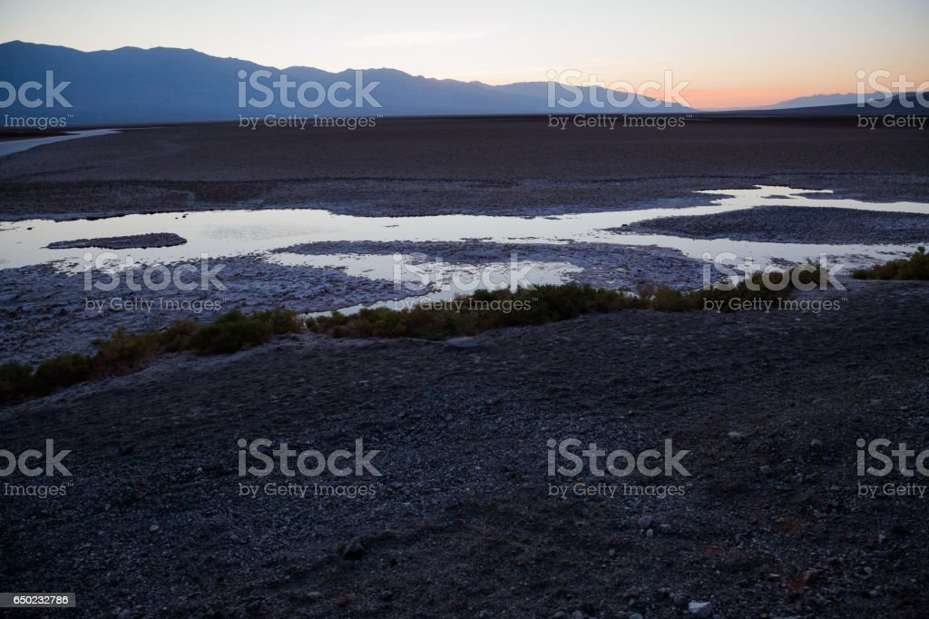 USA, California, Death Valley is a desert valley located in Eastern California. It is the lowest, driest, and hottest area in North America. Bad Water Basin stock photo