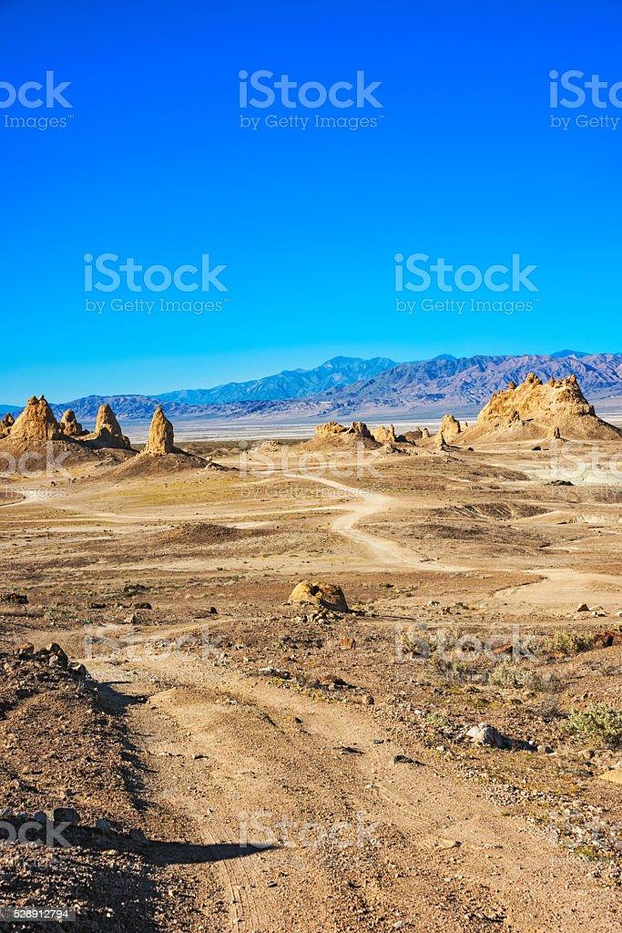California Desert Landscape at the Trona Pinnacles National Landmark stock photo