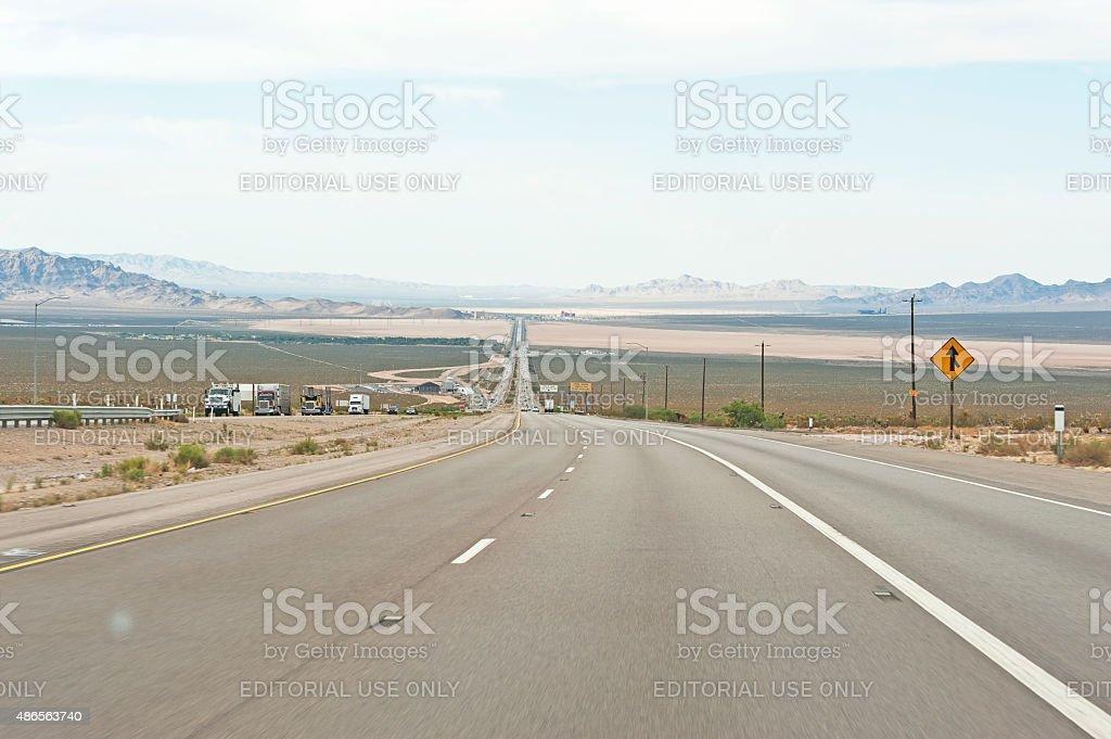California Desert View on Roadway to Las Vegas stock photo
