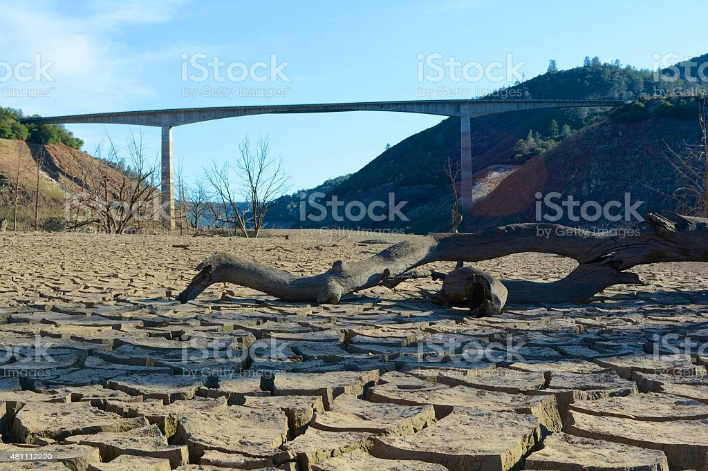 California Drought - Under New Melones Bridge on Dry Lakebed stock photo