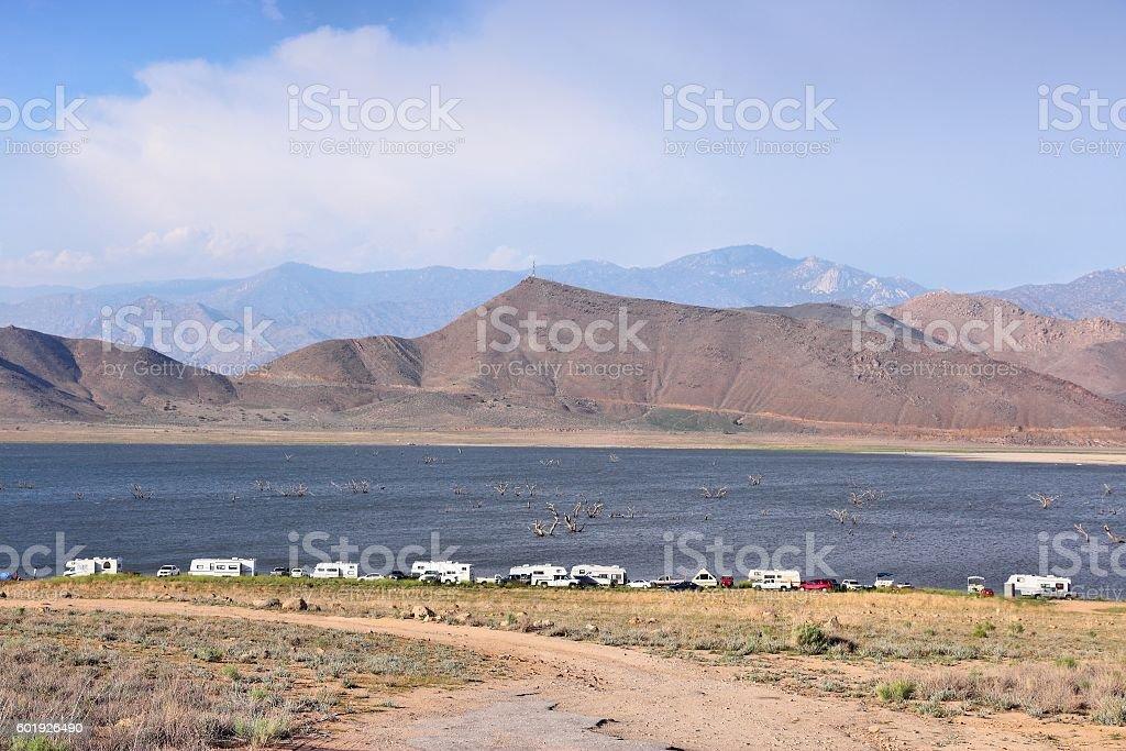 California dry lake stock photo