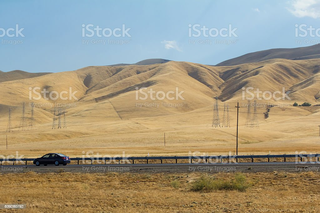 California freeway during drought stock photo