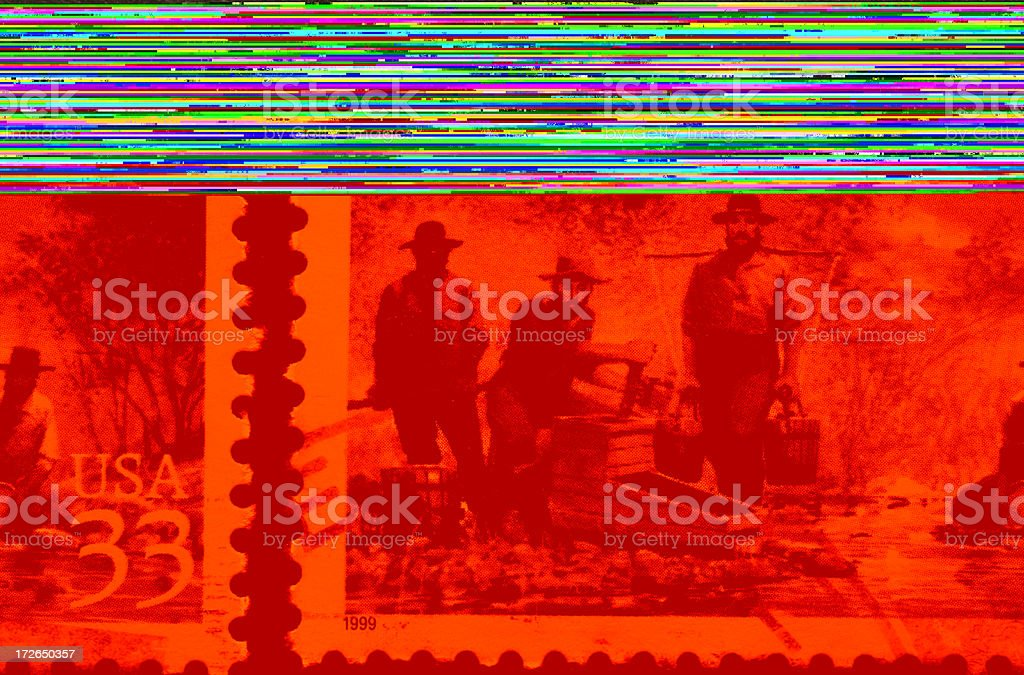 California gold rush stamp, Sutter's Mill stock photo
