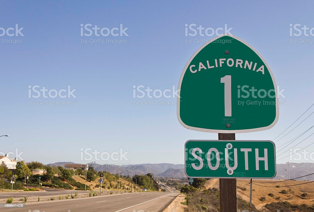 California highway 1 green sign stock photo