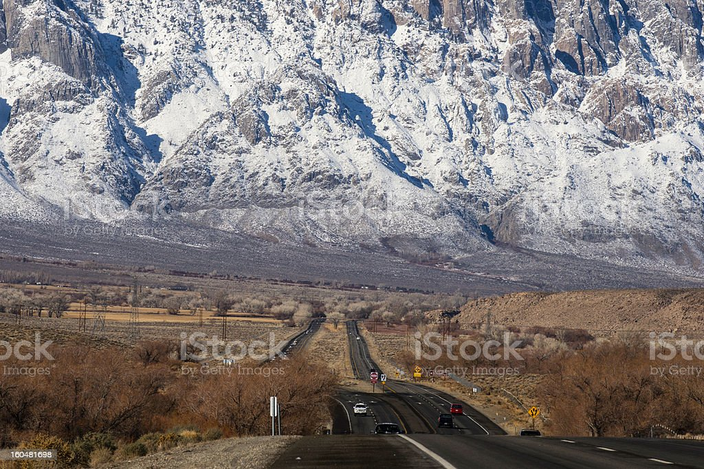 California Highway 395 and the Sierra Nevada stock photo