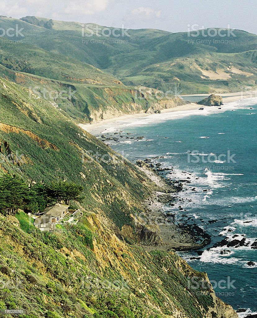 California Hillside mansion coastal scene stock photo