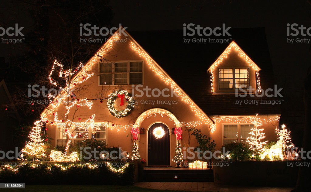 California Home decorated with Christmas lights and decorations stock photo