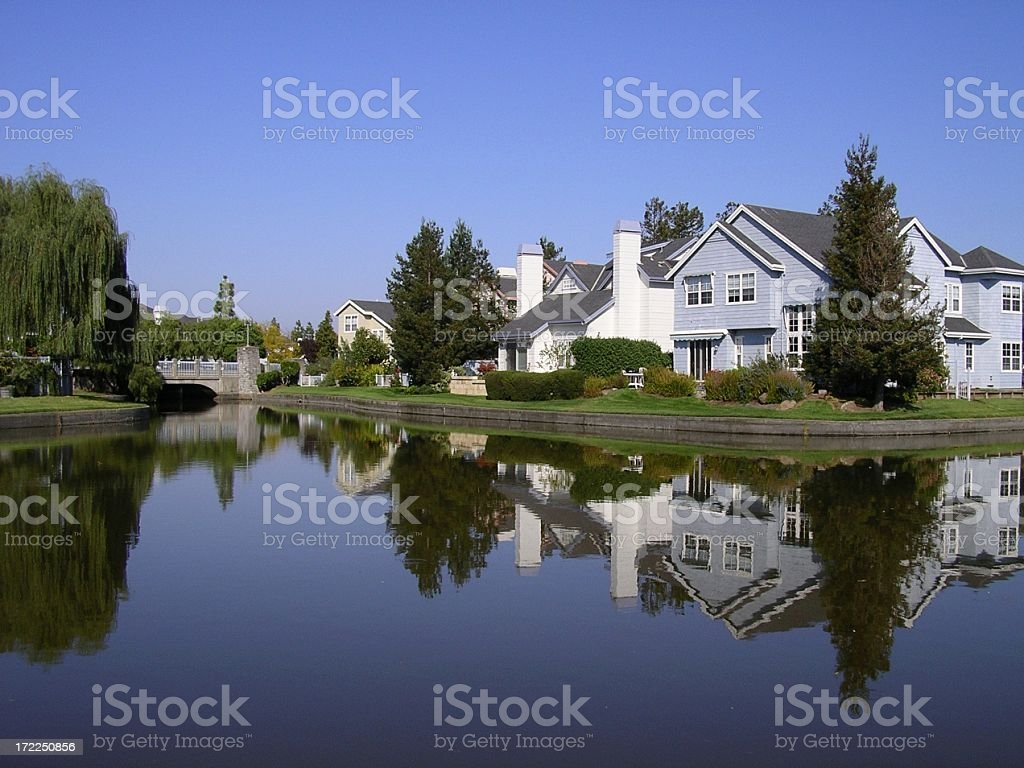 California lakeside home development stock photo