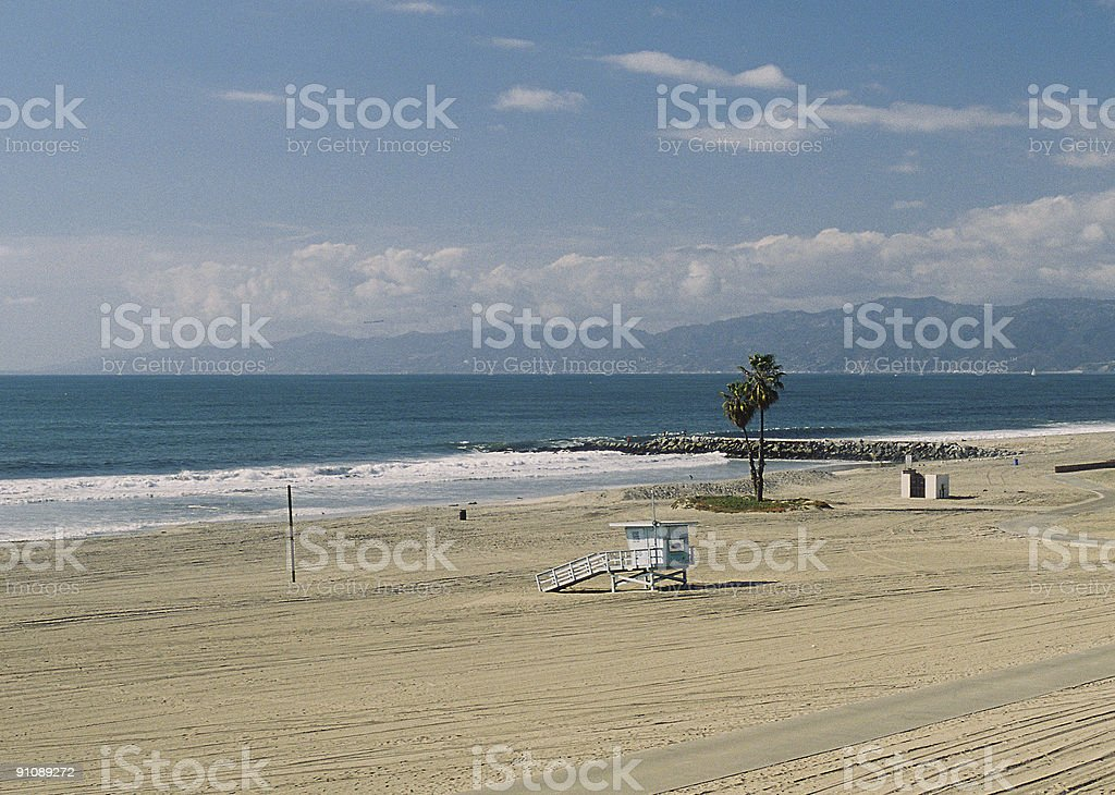 California Lifeguard hut and deserted beach royalty-free stock photo