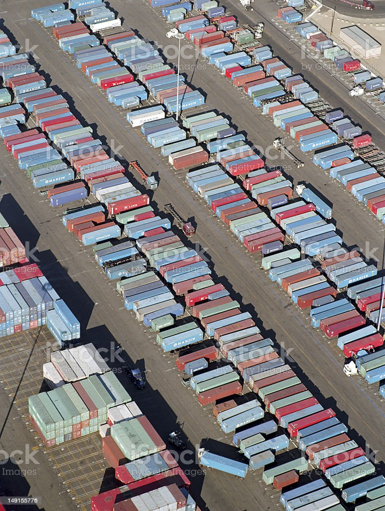 USA, California, Long Beach, aerial view of cargo containers in  stock photo