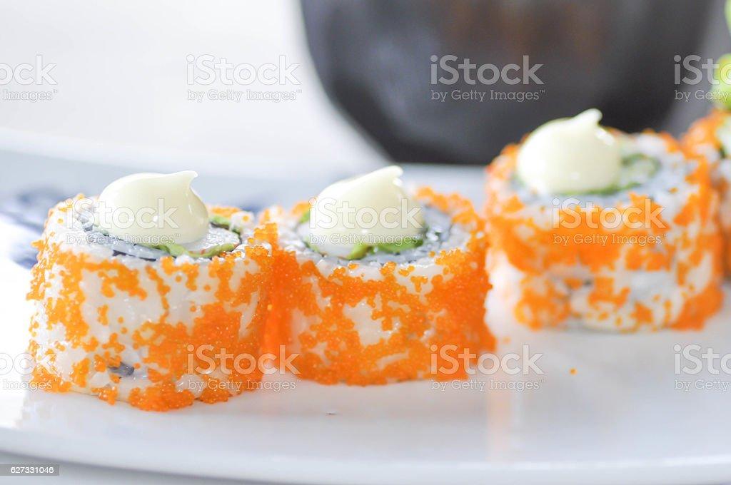 California Maki, Japanese food stock photo