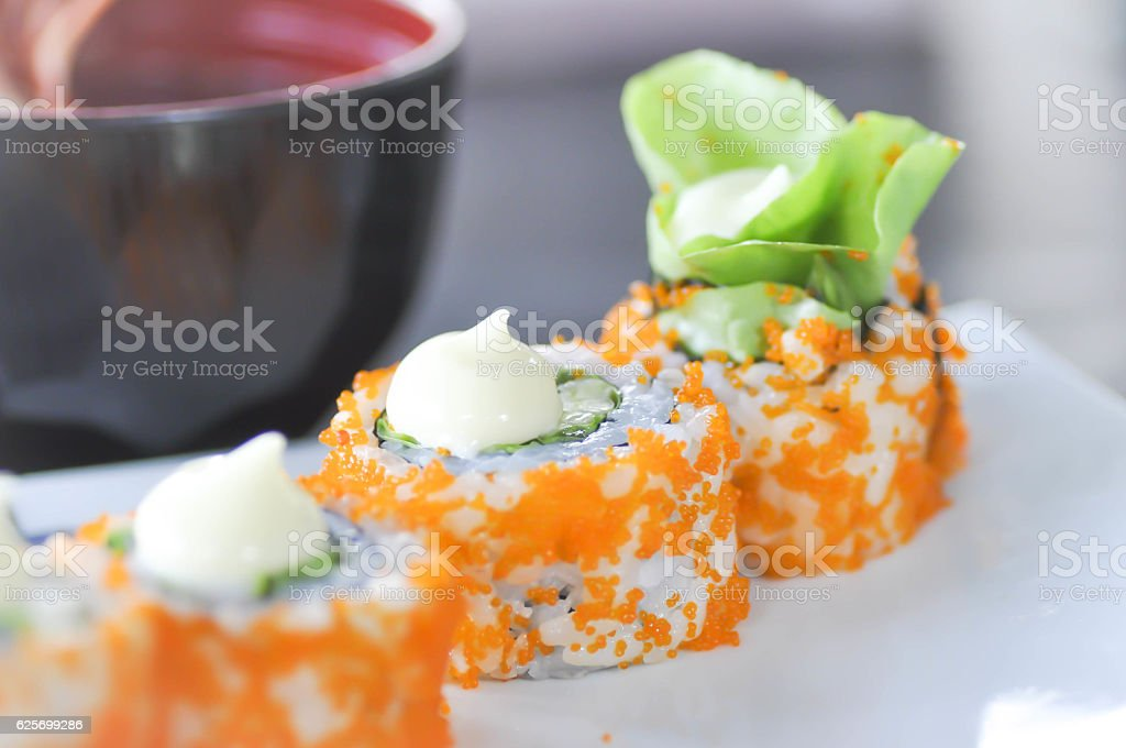 California Maki or rice roll, Japanese food stock photo