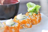 California Maki or rice roll, Japanese food