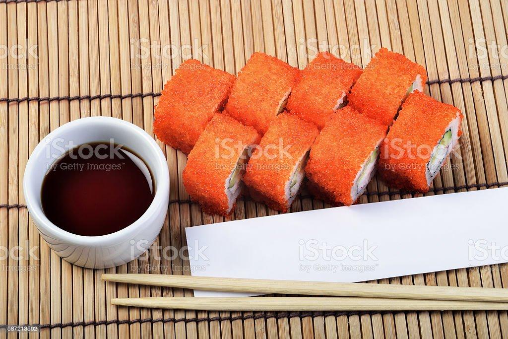 California Maki Sushi set on sushi mat stock photo