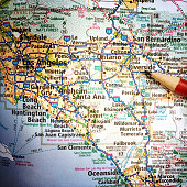 California Map with San Bernardino and Los Angeles