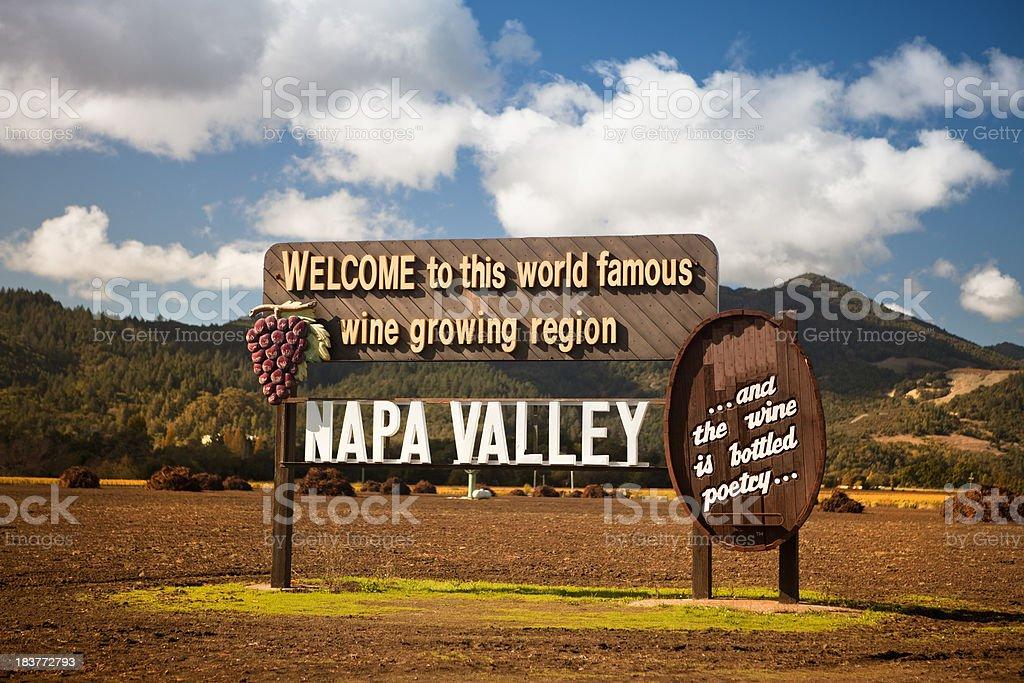 USA, California, Napa, Welcome sign near vineyard royalty-free stock photo