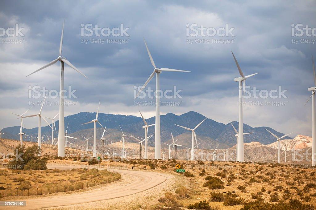 California, Palm Springs Wind Turbines in desert stock photo