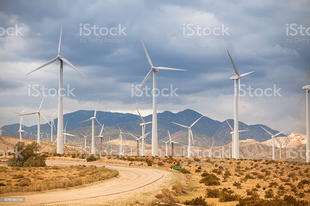 California, Palm Springs Wind Turbines in desert stock photo