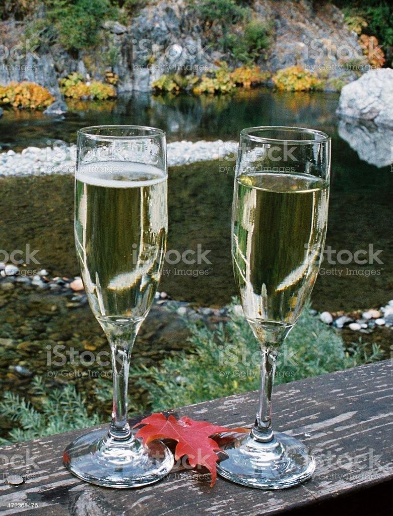 California riverside champagne glasses stock photo