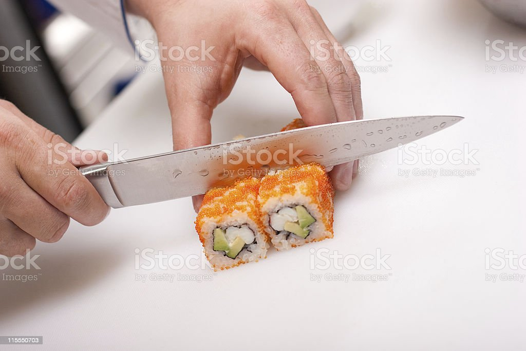california roll cooking royalty-free stock photo
